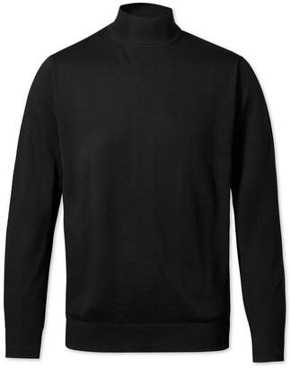 Charles Tyrwhitt Black Mock Turtleneck Merino Wool Sweater Size Large
