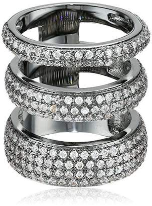 Noir Three Circle Clear Cubic Zirconia Ring