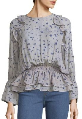 IRO July Ruffled Floral-Print Bell SleevesBlouse $310 thestylecure.com