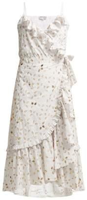 Juliet Dunn Gold Leaf Print Ruffled Wrap Dress - Womens - White Gold