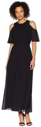 Calvin Klein Solid Cold Shoulder Maxi Dress Women's Dress