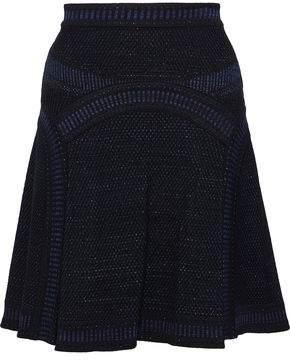 Roberto Cavalli Pleated Metallic Crochet-Knit Mini Skirt