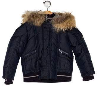 Fendi Boys' Fur-Trimmed Puffer Jacket