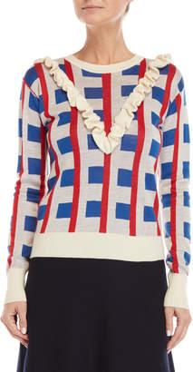 Le Mont St Michel Ruffle Jacquard Sweater