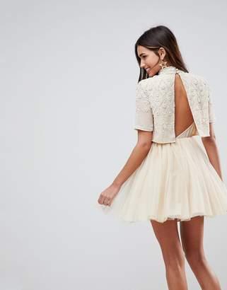 Asos Design Embellished Tulle Cut Out Back Mini Dress
