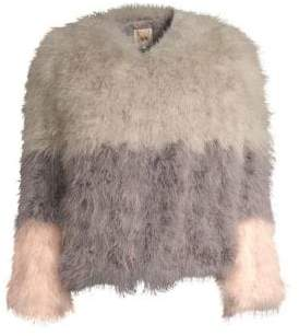 Alice + Olivia Pello Bello Fluffy Feather Jacket