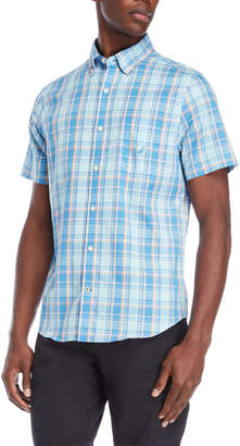 Nautica Blue Plaid Short Sleeve Shirt