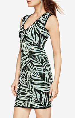BCBGMAXAZRIA Gari Palms Knit Jacquard Dress