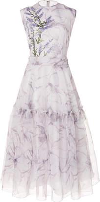 Costarellos Sleeveless Printed Silk Organza Dress
