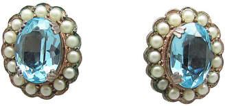 One Kings Lane Vintage Faux-Aquamarine & Pearl Earrings