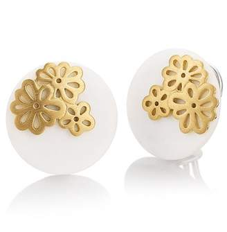 Breuning Yellow Gold Plated Sterling Silver White Corian Flower Drop Earrings