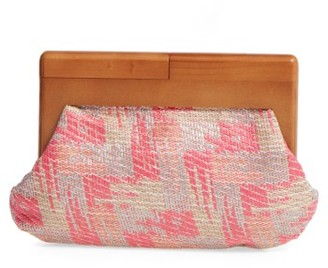 Sondra Roberts Perforated Faux Leather Frame Clutch - Pink $58 thestylecure.com