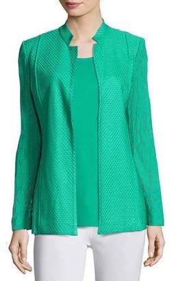 Misook Lace-Sleeve Knit Jacket, Green