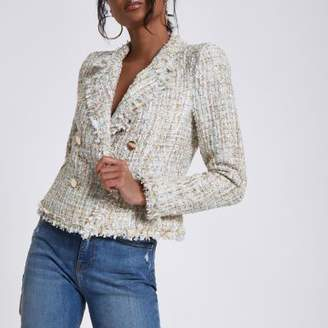 River Island Womens Cream boucle double-breasted fitted jacket