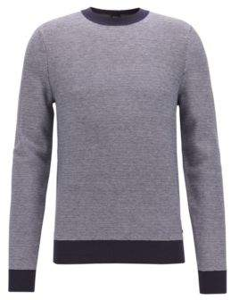 BOSS Hugo Knitted jacquard sweater two-color micro pattern M Dark Blue