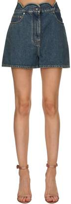 Valentino Scalloped Waist Denim Shorts