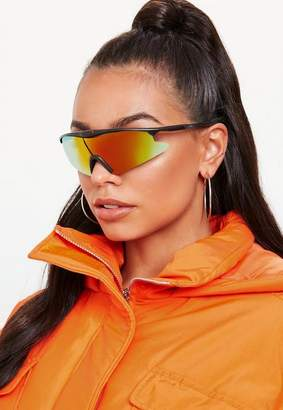 Missguided Multi Reflective Wrap Around Sunglasses