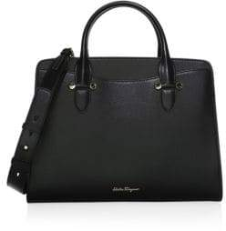 Salvatore Ferragamo Today Score Nero Leather Handbag