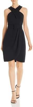 Eliza J Cross-Front Crepe Dress