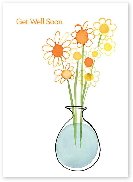 Daisies Get Well Greeting Card - Set of Six
