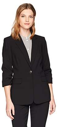 Calvin Klein Women's Lux One Button Jacket with Rouched Sleeves