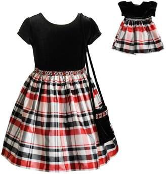 Dollie & Me Girls 4-10 Velvet Plaid Short-Sleeve Dress & Matching Doll Dress