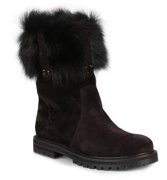 Salvatore Ferragamo Vasto black suede and fur boot