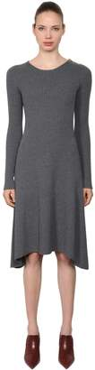 Tory Burch Halle Merino Wool Ribbed Knit Dress