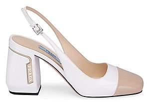 Prada Women's Leather Bicolor Slingback Heels