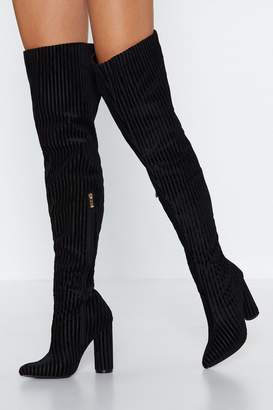 Nasty Gal Ready For the Rib Down Thigh-High Boot
