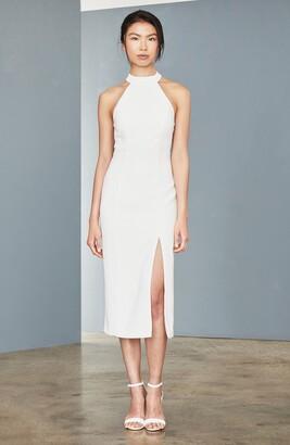 Amsale Sheer Back Faille Sheath Dress