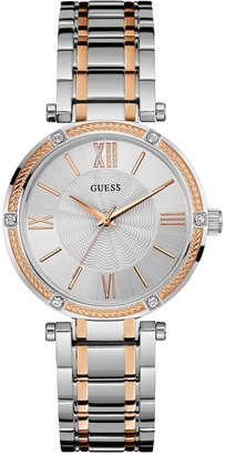 GUESS Women's Two-Tone Stainless Steel Bracelet Watch 36mm U0636L1 $125 thestylecure.com