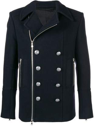 Balmain Pea Coat With Buttons