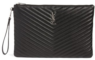 Saint Laurent Large Monogram Matelasse Leather Pouch - Black $725 thestylecure.com