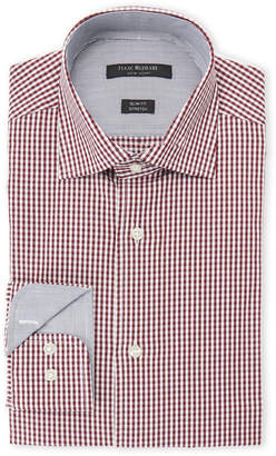 Isaac Mizrahi Red & Black Square-Print Slim Fit Stretch Dress Shirt