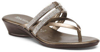Made In Italy Bling Wedge Sandals