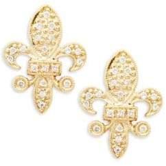 KC Designs 14K Yellow Gold and Diamond Fleur De Lis Stud Earrings