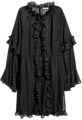 H&M Wide-cut Ruffle-trimmed Dress - Black