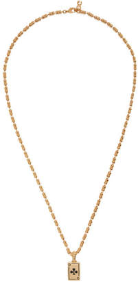 Gold Clubs Plaque Necklace