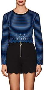 Derek Lam 10 Crosby WOMEN'S EYELET-DETAILED STRIPED JERSEY TOP - NAVY SIZE M