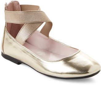 Nina Kids Girls) Gold Marissa Elastic Strap Ballet Flats