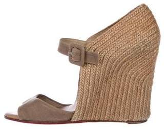 Christian Louboutin Canvas Espadrille Wedge Sandals