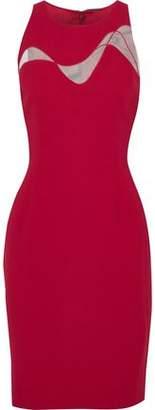 Elie Tahari Colby Tulle-Paneled Crepe Dress