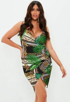 Missguided Plus Size Green Palm Print Wrap Over Dress