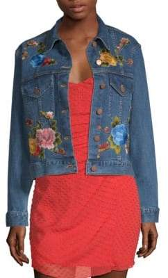 Alice + Olivia AO.LA by Chloe Embroidered Boxy Denim Jacket