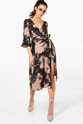boohoo Wrap Ruffle Sleeve Floral Midi Dress