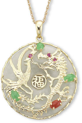 Dragon Optical FINE JEWELRY Jade Pendant 14K over Sterling Silver