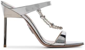 Miu Miu silver diamanté chain 105 sandals