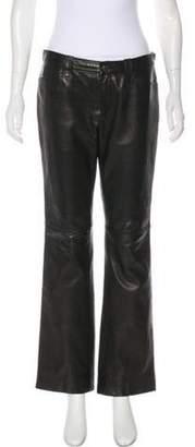 Ralph Lauren Leather Mid-Rise Pants Black Leather Mid-Rise Pants