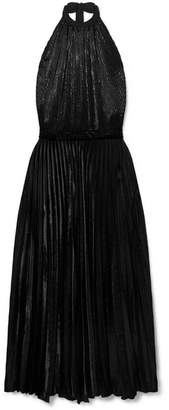 Raquel Diniz - Giovanna Satin-trimmed Pleated Velvet And Lurex Maxi Dress - Black